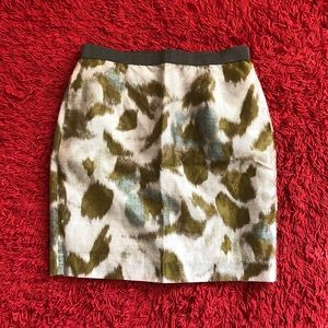Olive green & Cream Loft pencil skirt